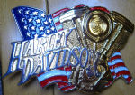 Harley Davidson Engine Solid Brass Belt Buckle. Code HD002